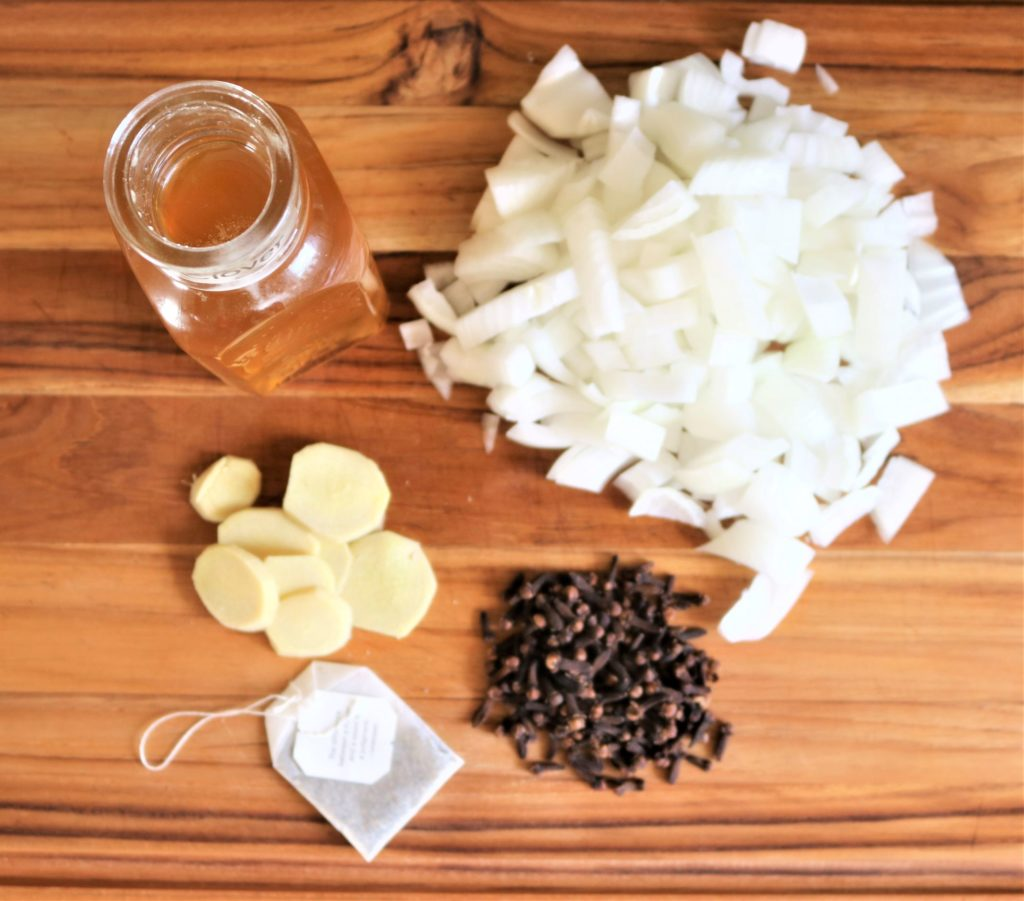 prepped ingredients for homemade natural cough syrup